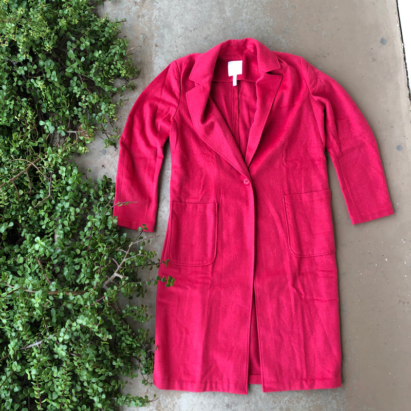 Leith Fuchsia Long Coat, Size Medium