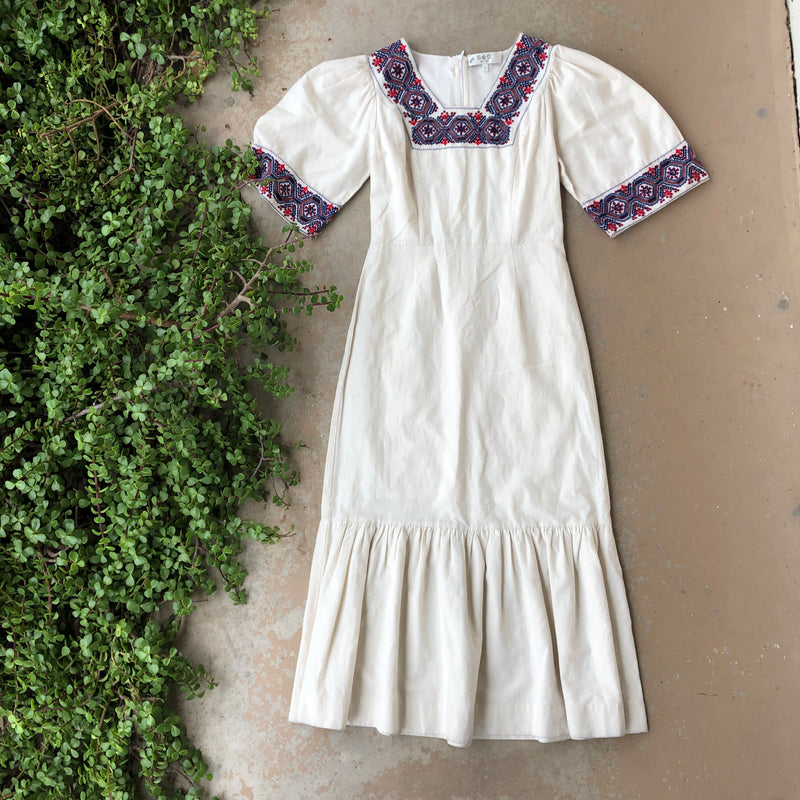 Sea New York Embroidered Cream Dress, Size 2