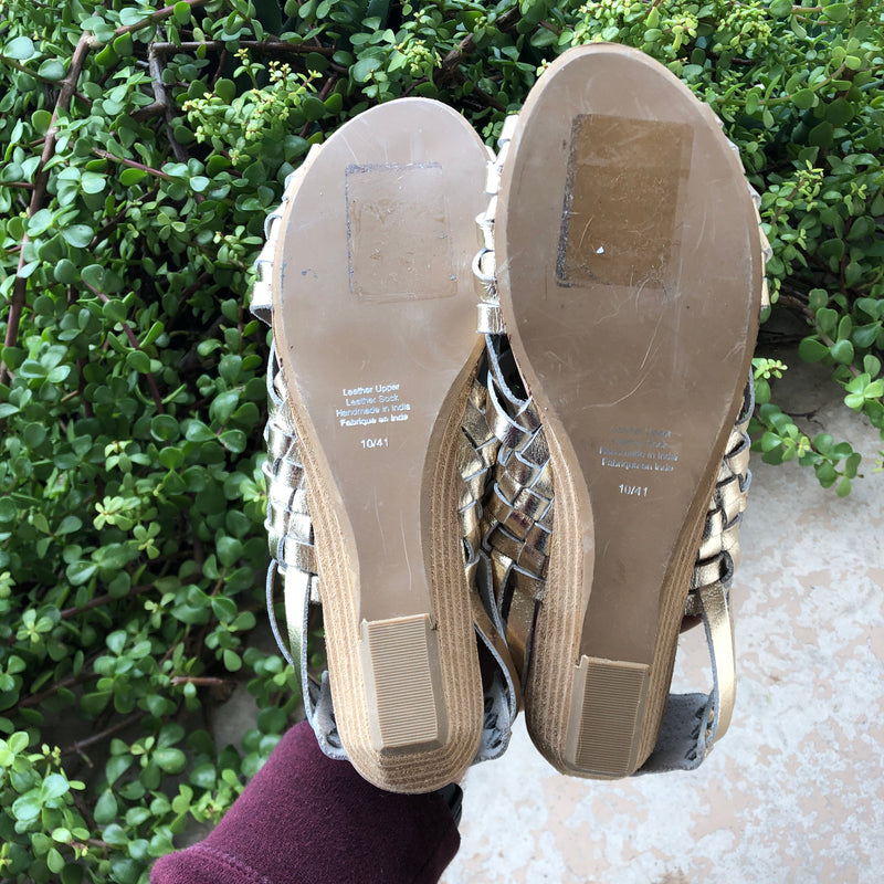 Jeffrey Campbell Gold Metallic Sandals, Size 10