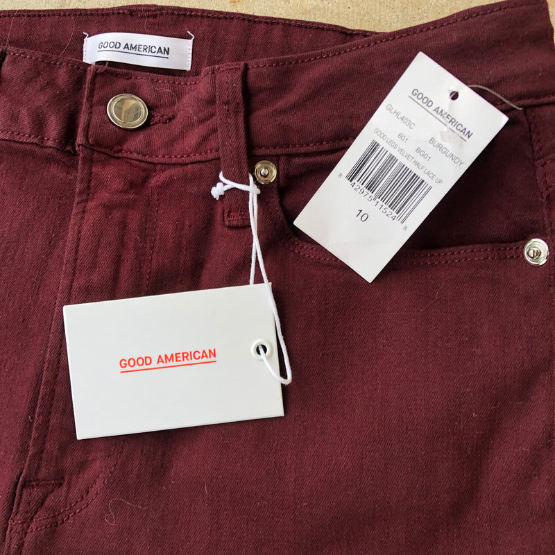 Good American Maroon Skinny Jeans, Size 10 (NWT)