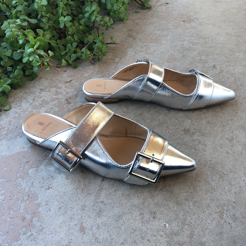 Bill Blass Silver Buckle Sandals, Size 8