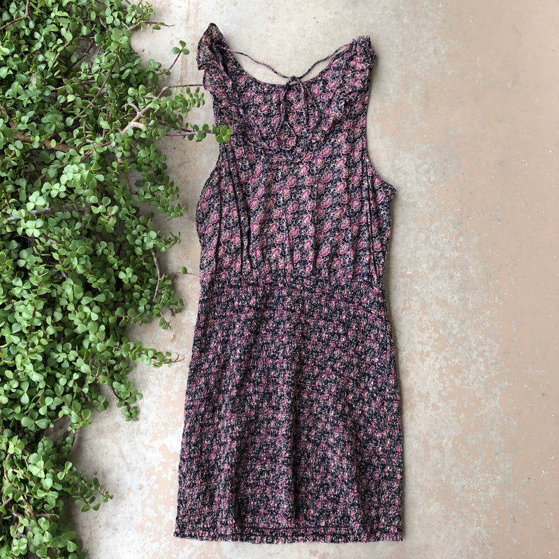 Free People Blue Purple Floral Dress, Size Large