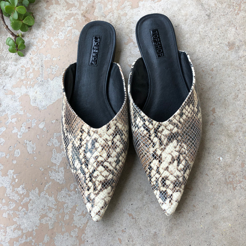 Topshop Snakeskin Pointed Toe Mule, Fits an 8