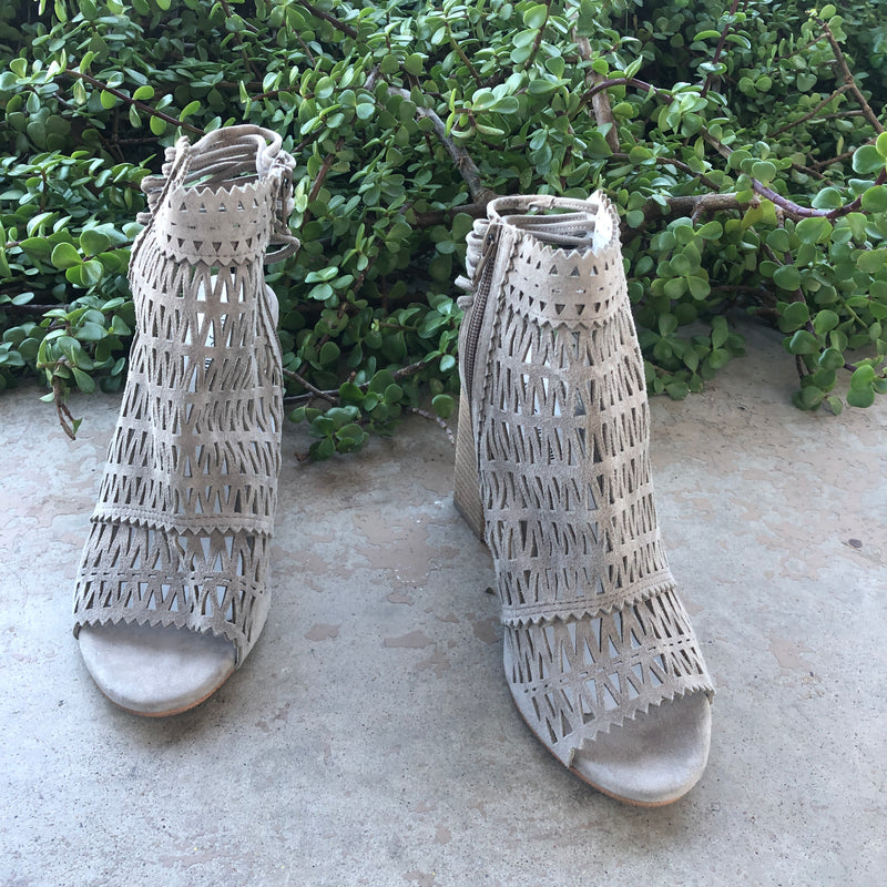 Jeffrey Campbell Cutout Suede Block Heels, Size 9.5