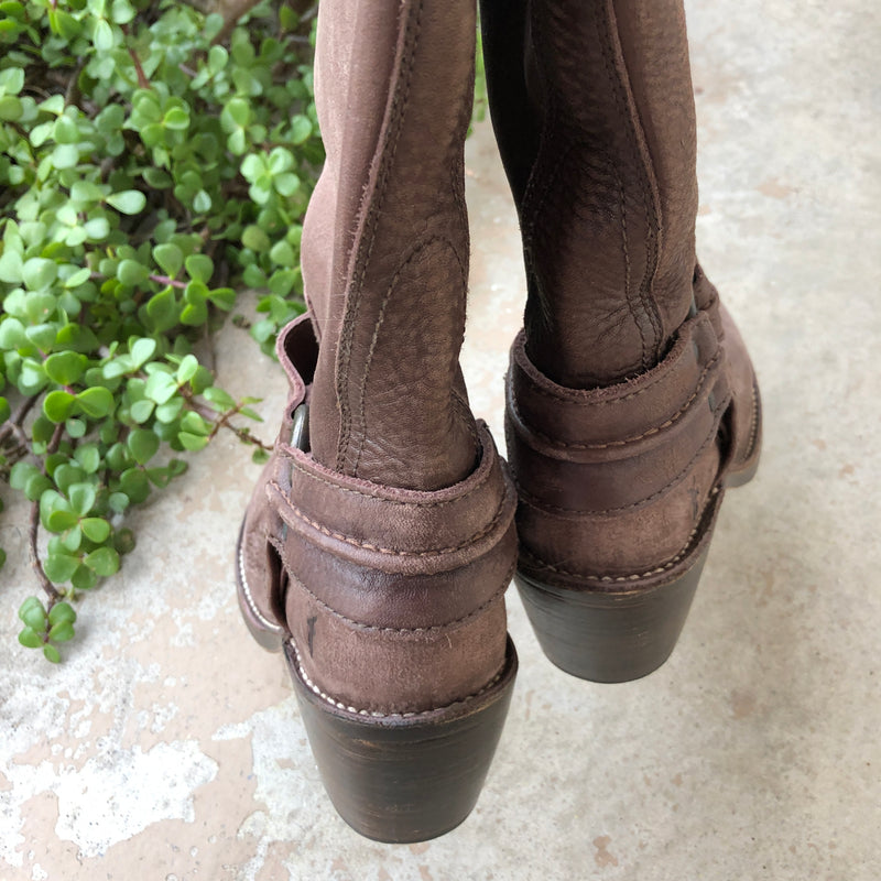 Frye Tall Brown Leather Heeled Boots, Size 6.5
