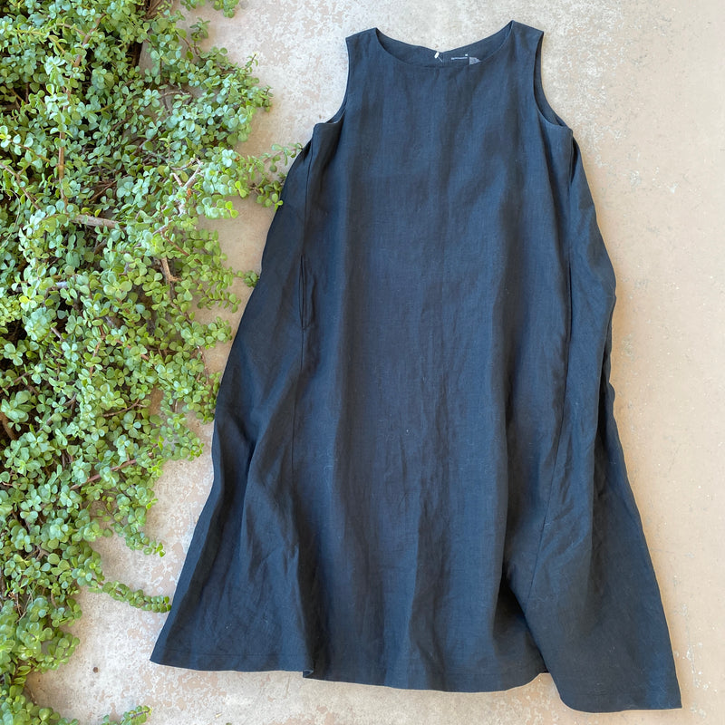 Muji Black Linen Boxy Midi Dress, Size Medium
