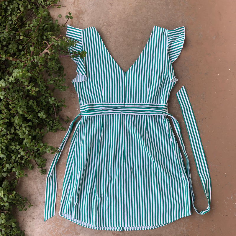 BB Dakota Green White Striped Dress, Size 12