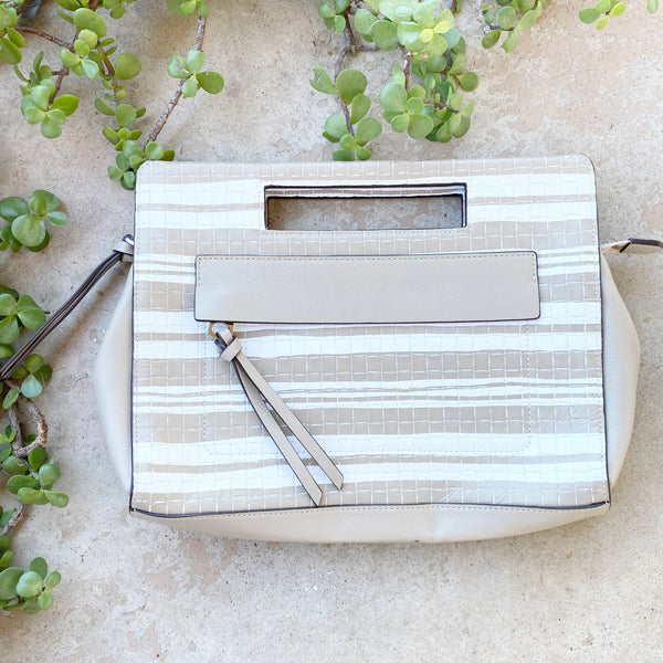 Coach Fawn White Stripe Handbag