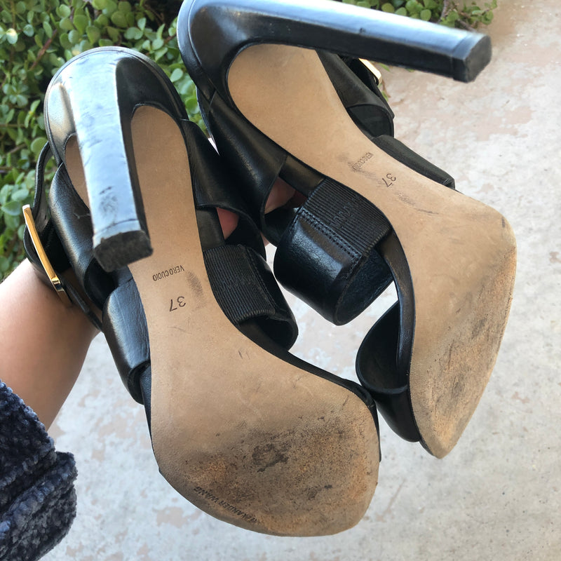 Alexander Wang Black Leather Heels, Size 37/US 7