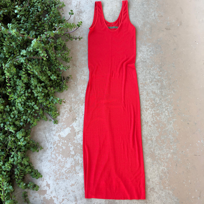 Enza Costa Red Ribbed Dress, Size Medium