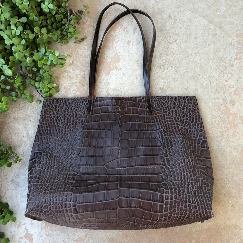 "B MAY Croc Embossed Tote Bag, 13"" x 16"" x 5.5"""