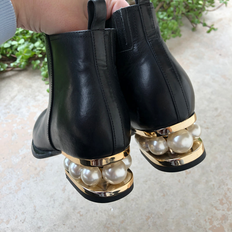 Jeffrey Campbell Black Leather Pearl Booties, Size 6
