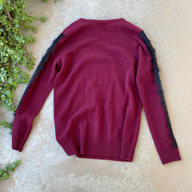 Sofia Cashmere Maroon Lace Sweater, Size Medium