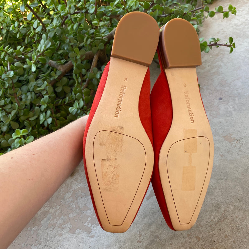 Reformation Red Suede Mules, Size 8