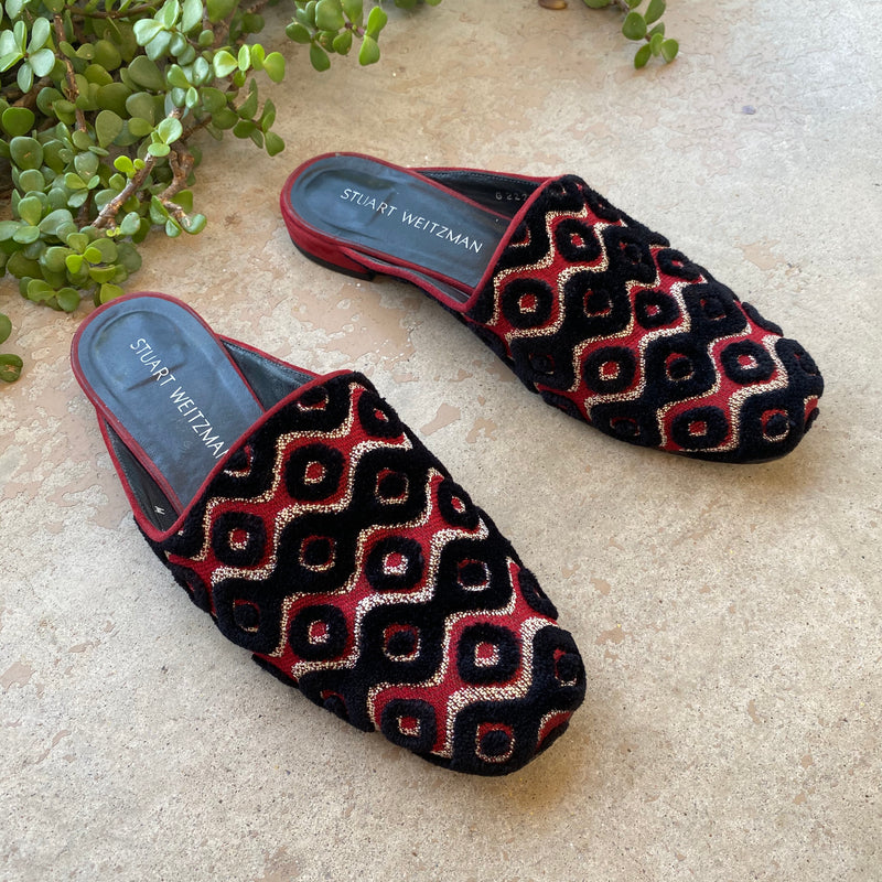 Stuart Weitzman Embroidered Mules, Size 8
