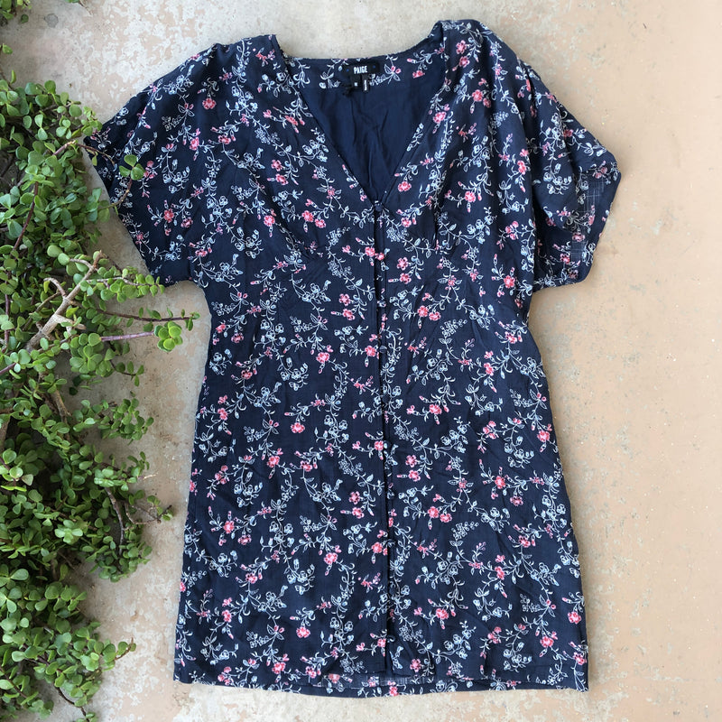 Paige Blue Floral Dress, Size Medium