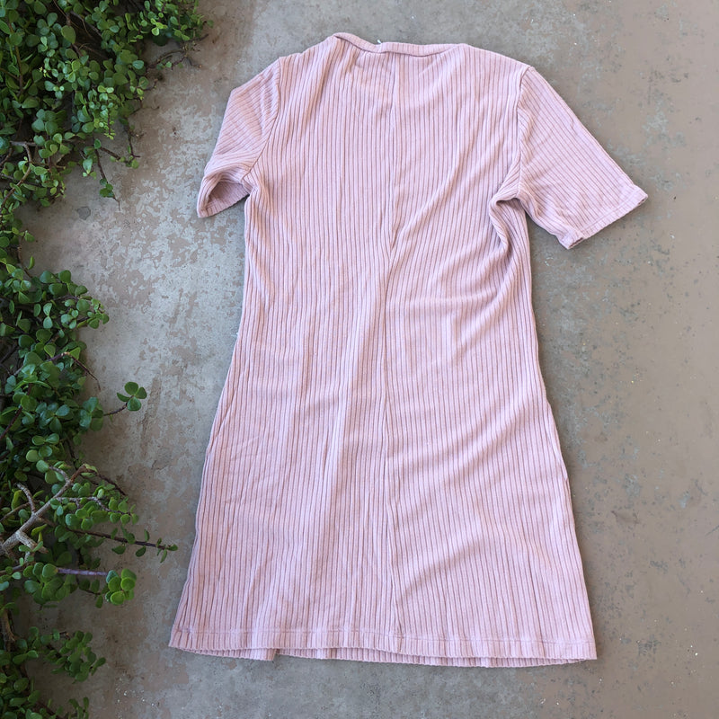 Reformation Pink Ribbed Dress, Size Large