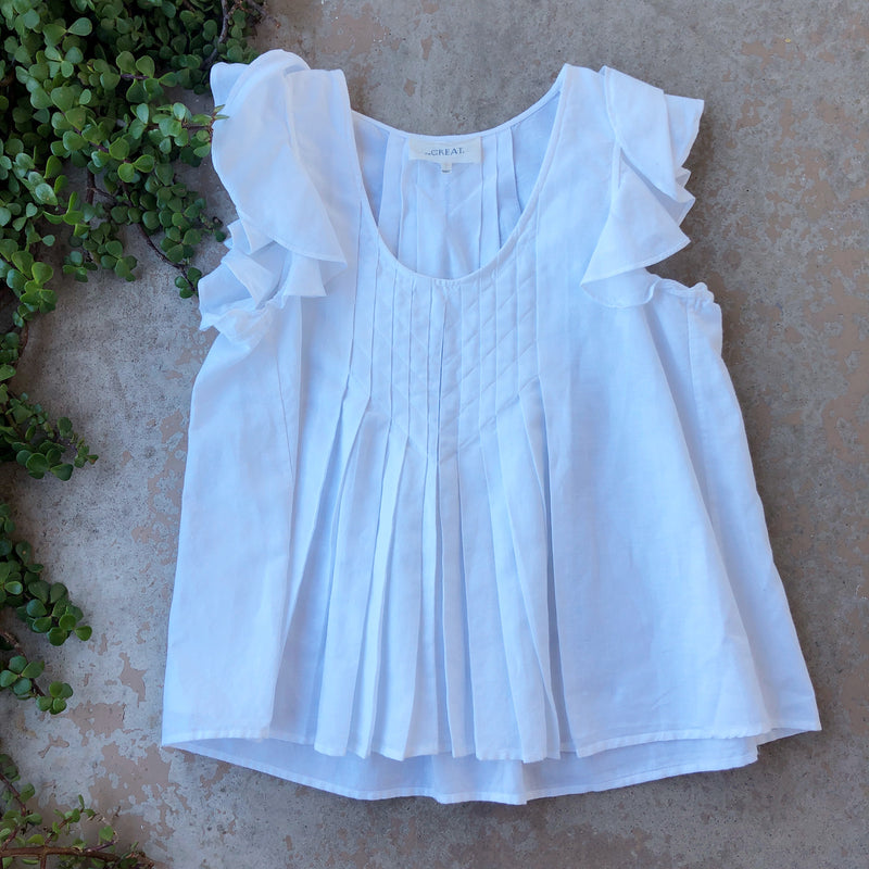 The Great. White Linen Top, Size 4/6