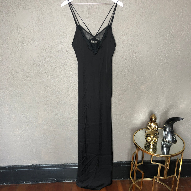Capulet Black Lace Slip Midi Dress, Size XS