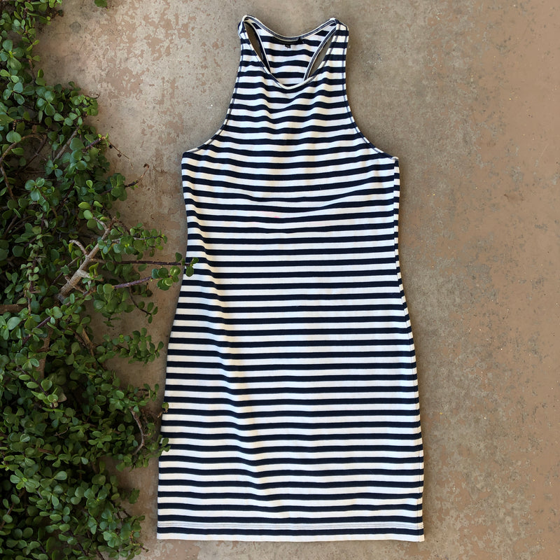 Majorelle Striped Navy Dress, Size Small