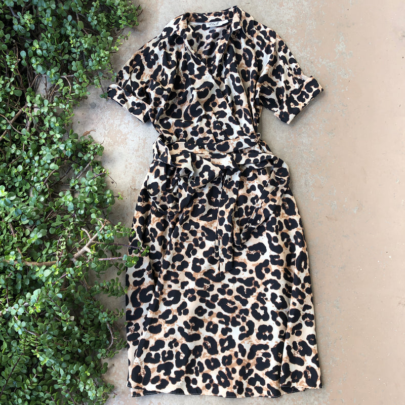 Eliza J Leopard Faux Wrap Midi Dress, Size 10