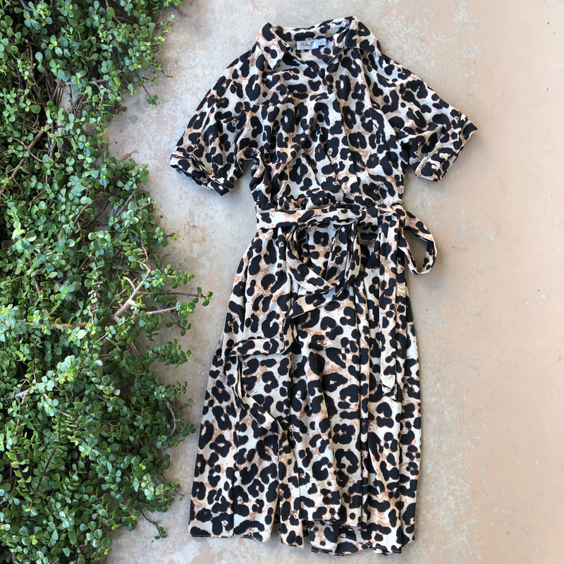 Eliza J Leopard Faux Wrap Midi Dress, Size 4