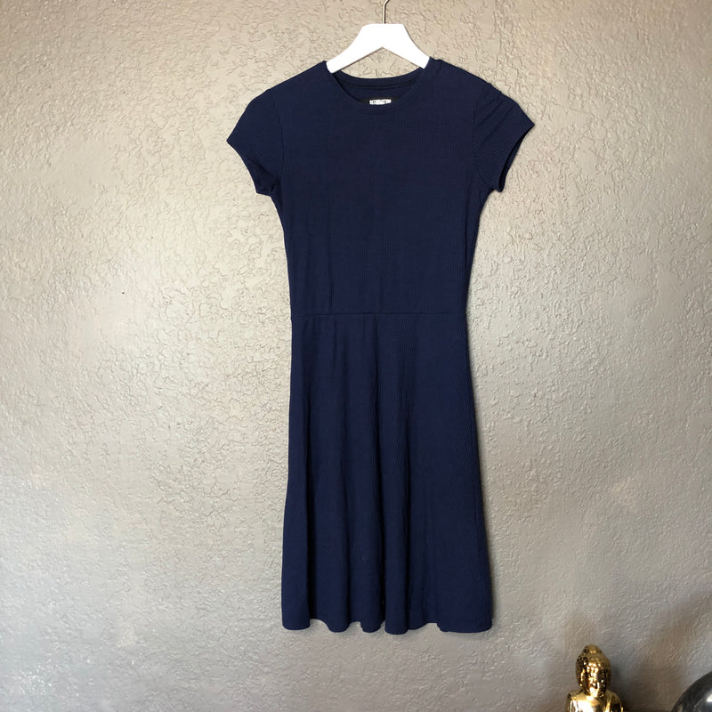 Reformation Navy Ribbed Dress, Size XS