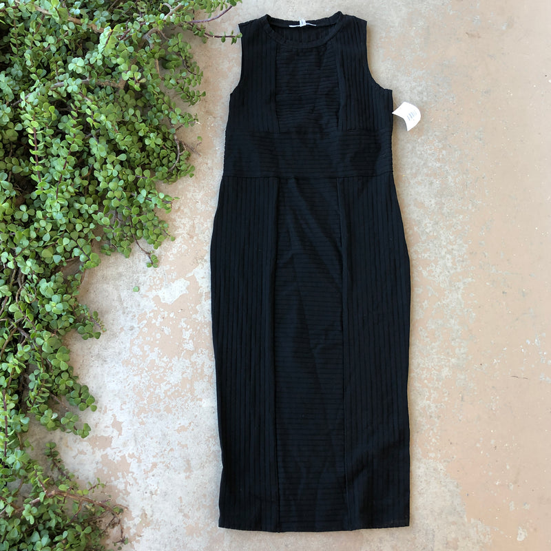 Good American Black Sheer Dress, Size Large