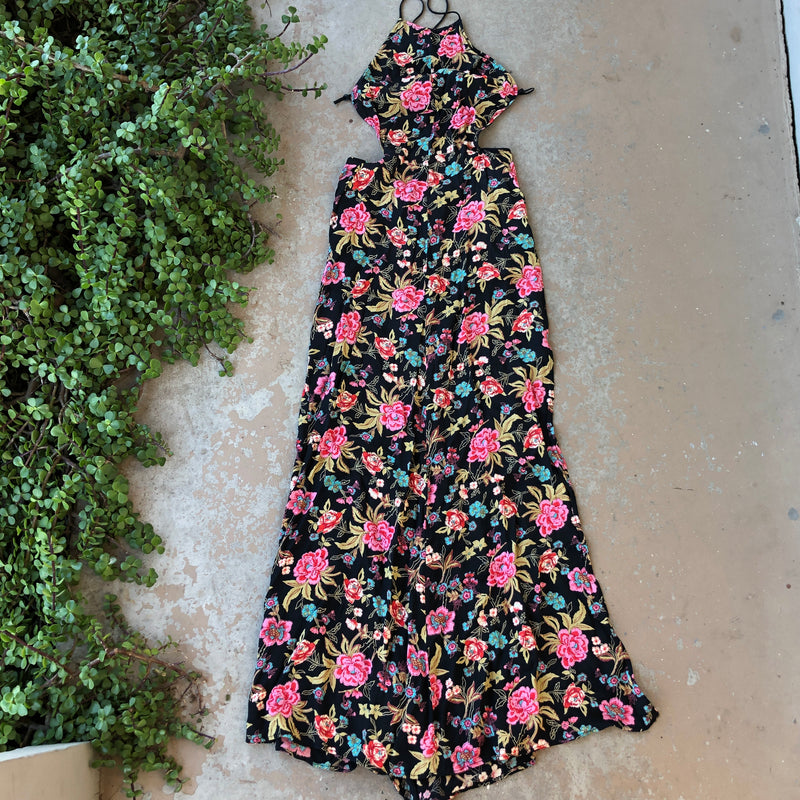Reformation Floral Open Back Maxi Dress, Size XS