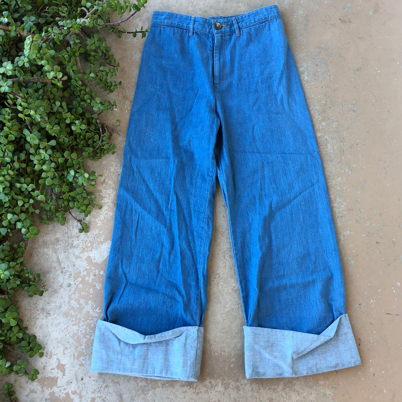 SEA New York High Rise Chambray Pants, Size 6
