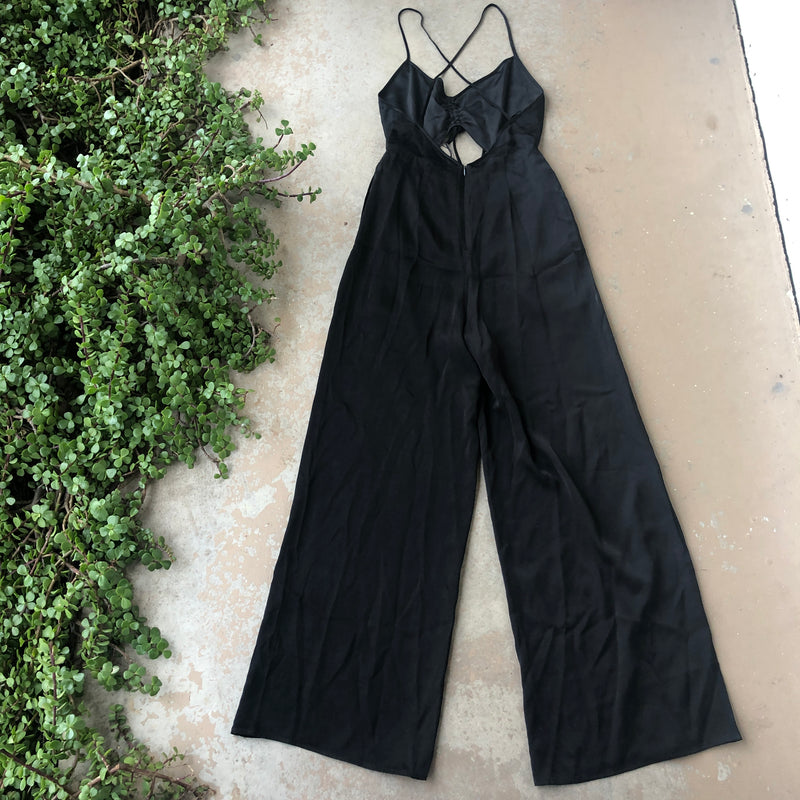 FINDERS KEEPERS Revolve Black Satin Jumpsuit, Size Small