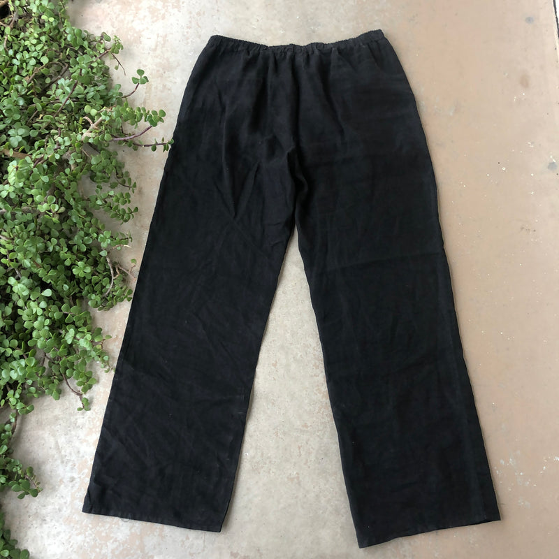 Handmade by Elle Black Linen Pants, Size Large
