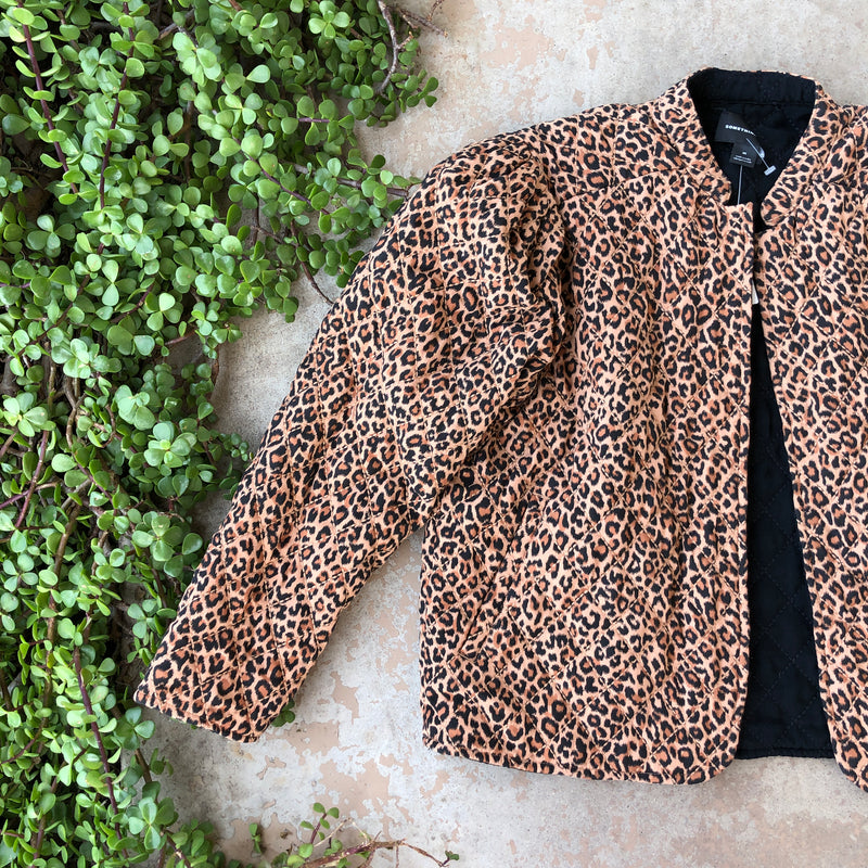 Something Navy Reversible Black/Leopard Jacket, Size Medium