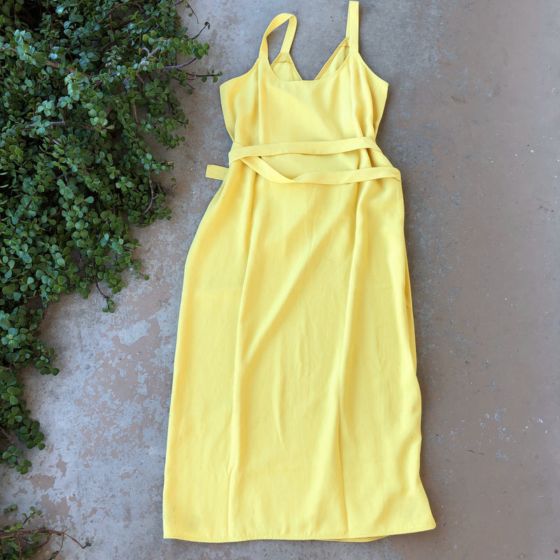 Everlane Yellow Wrap Dress, Size 12