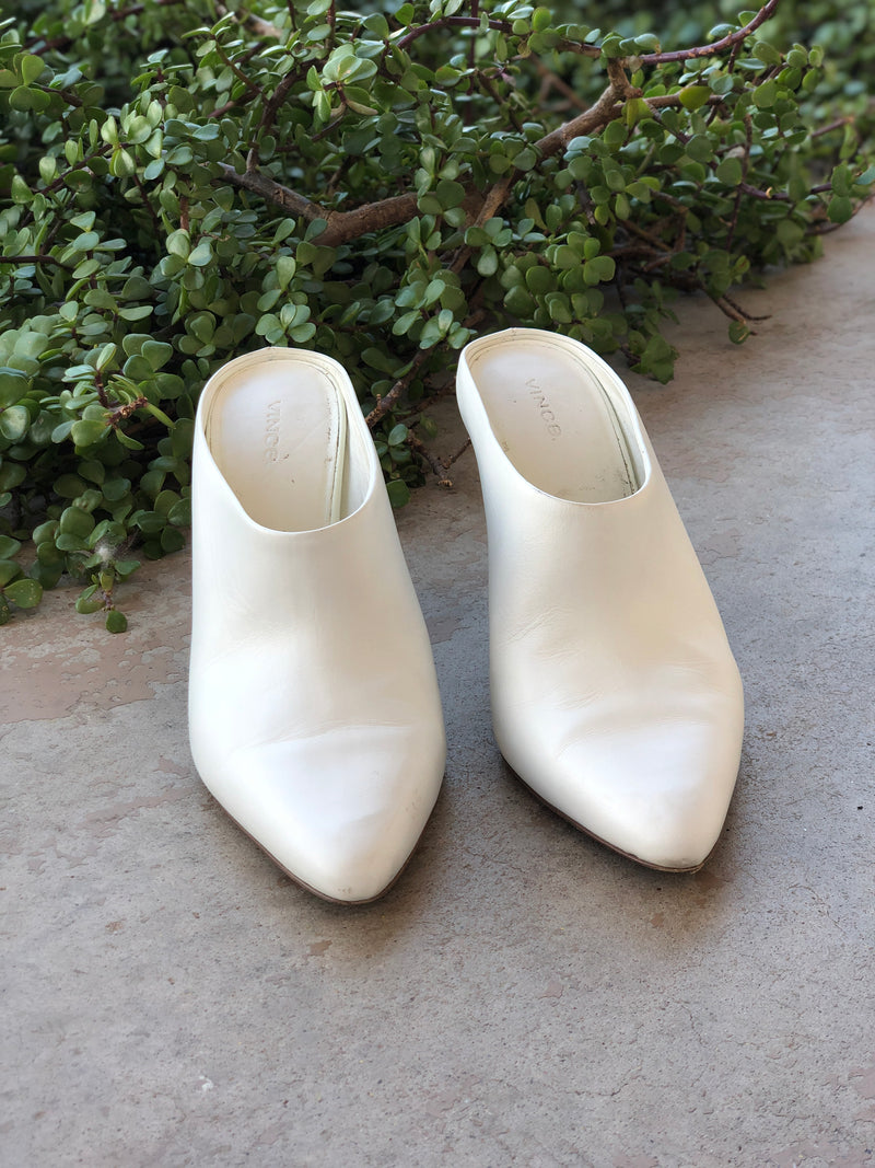 Vince White Leather Mules, Size US 10