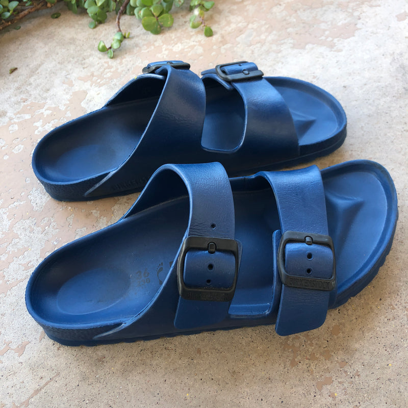 Birkenstock Blue Pool Slides, Size 36/7