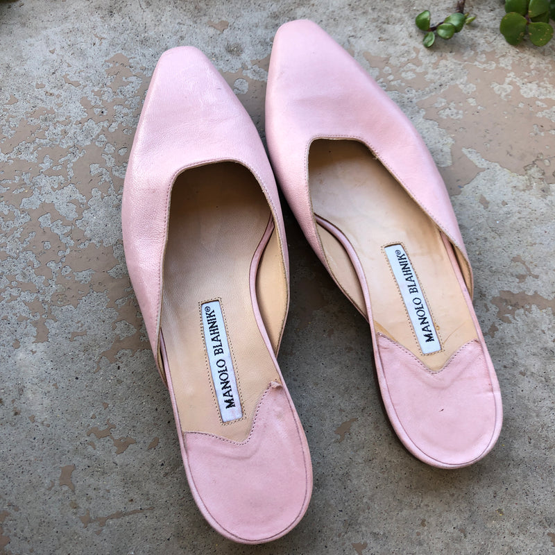 Manolo Blahnik Pink Leather Mules, Size 38.5/US 8.5