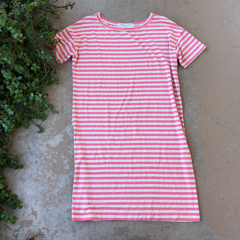 Sonnet James Salmon Stripe Dress, Size Small