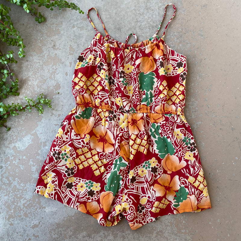 What Goes Around Comes Around Silk Romper, Size Small