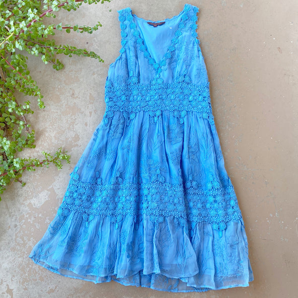 Ranna Gill Blue Lace Dress, Size XS