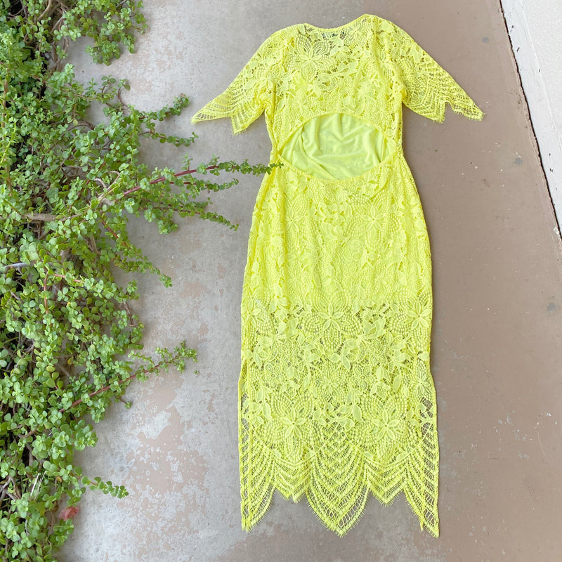 For Love and Lemons Yellow Midi Dress, Size Medium