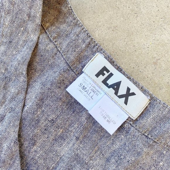 FLAX Gray Linen Top, Size Small
