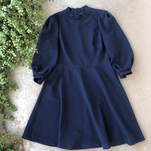Gal Meets Glam Navy Puff Sleeve Sweater Dress, Size 14