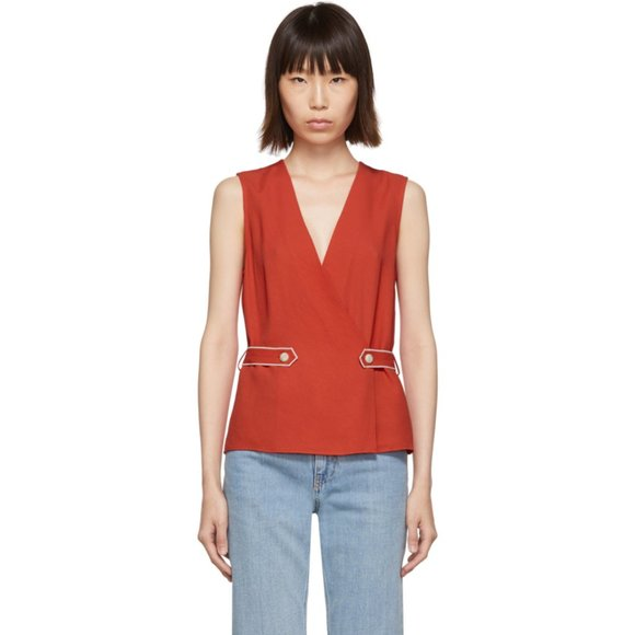 Rag & Bone Tabitha Sleeveless Wrap Top, Size Medium