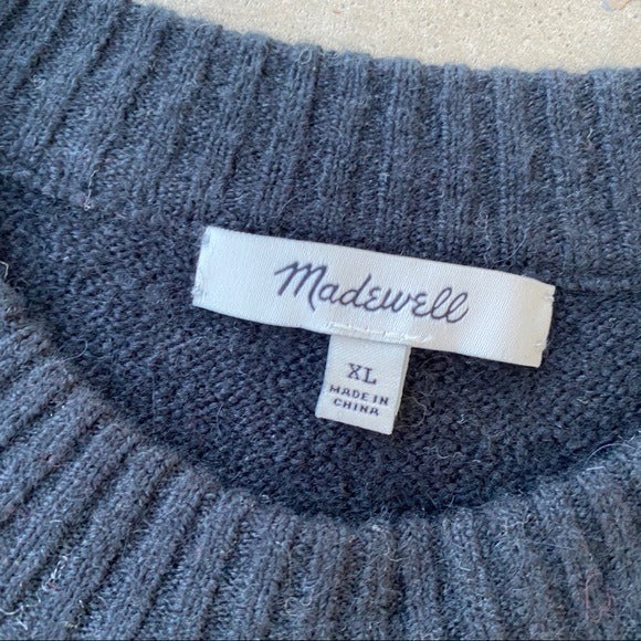 Madewell Black Wool Blend Sweater, Size XL