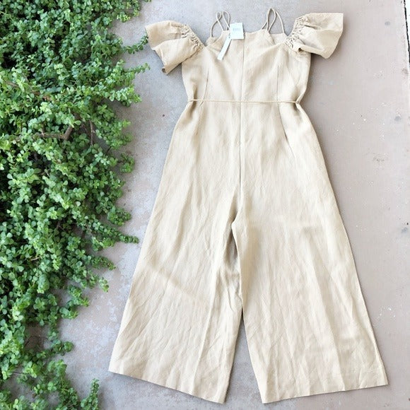 CAARA Cream Midi Jumpsuit, Size Small