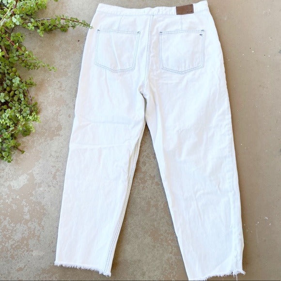Madewell Acid Wash White Mom Jeans, Size 31