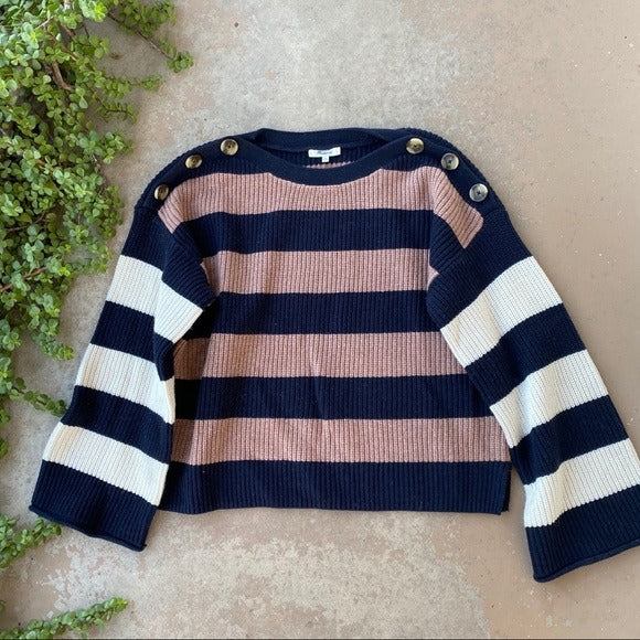 Madewell Stripe Color Block Sweater, Size XL