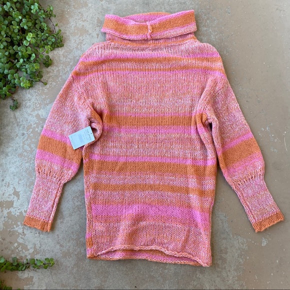 Free People Pink Candy Stripe Sweater, Size XS