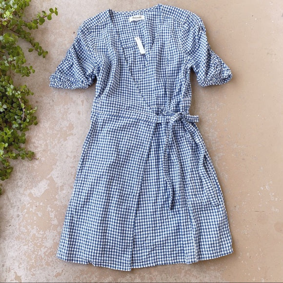 Madewell Gingham Linen Wrap Dress, Size Medium
